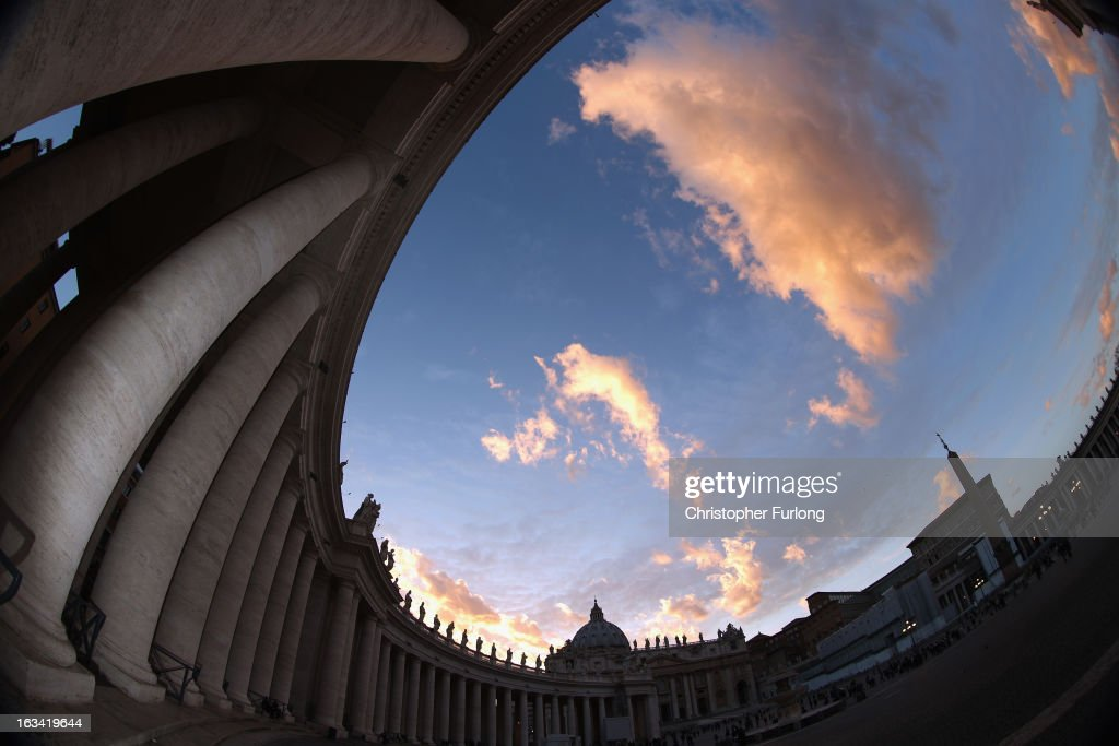 The sun sets over St Peter's Square as cardinals prepare to vote for a new pope on March 9, 2013 in Vatican City, Vatican. Cardinals are set to enter the conclave to elect a successor to Pope Benedict XVI after he became the first pope in 600 years to resign from the role. The conclave is scheduled to start on March 12 inside the Sistine Chapel and will be attended by 115 cardinals as they vote to select the 266th Pope of the Catholic Church.
