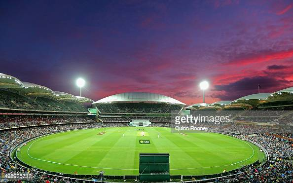 The sun sets over the Adelaide Oval during day one of the Third Test match between Australia and New Zealand at Adelaide Oval on November 27 2015 in...