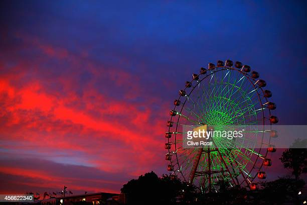 The sun sets over the circuit following Qualifying for the Japanese Formula One Grand Prix at Suzuka Circuit on October 4 2014 in Suzuka Japan