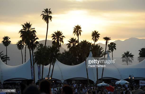 The sun sets over the Coachella Valley Music Arts Festival 2011 held at the Empire Polo Club on April 17 2011 in Indio California