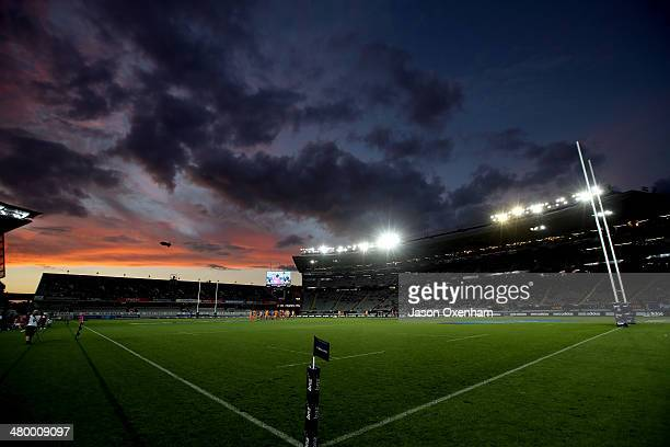 The sun sets over the grandstands at Eden Park before kick off of the round six Super Rugby match between the Blues and the Cheetahs on March 22 2014...