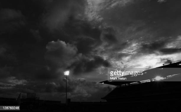 The sun sets over the ground during the round one ALeague match between the Newcastle Jets and the Melbourne Heart at Ausgrid Stadium on October 8...