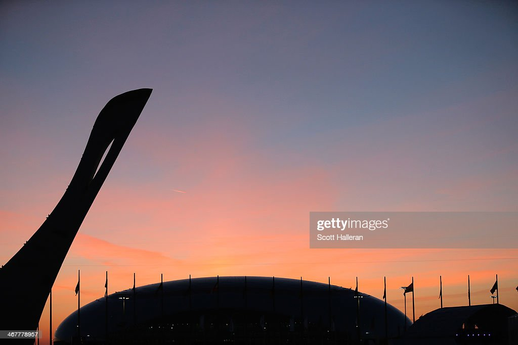 The sun sets over the Olympic Park during the Opening Ceremony of the Sochi 2014 Winter Olympics at Fisht Olympic Stadium on February 7, 2014 in Sochi, Russia.