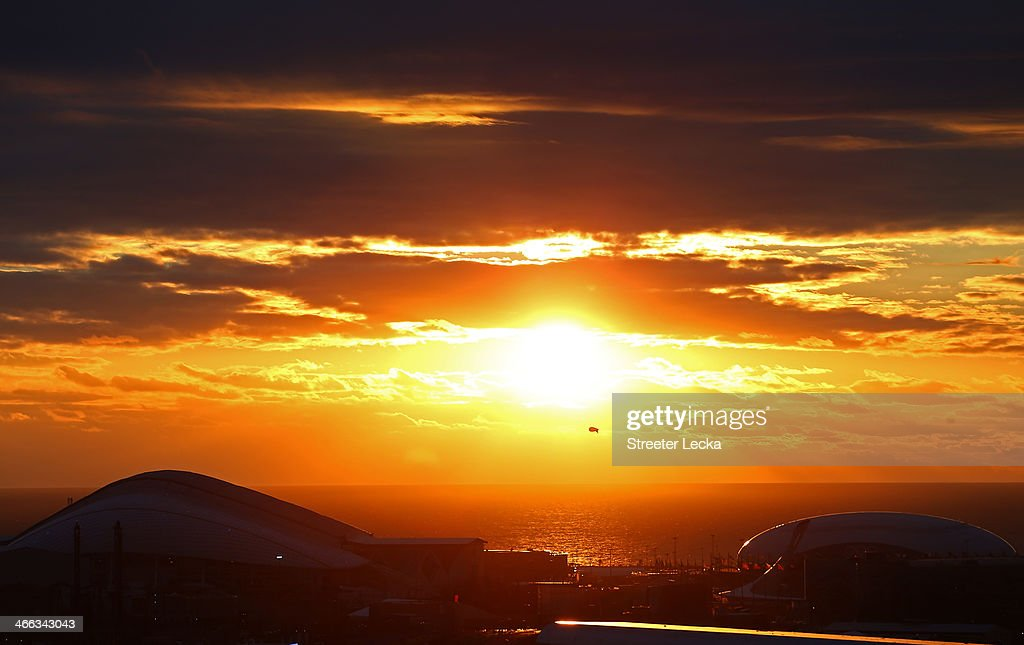 The sun sets over the Olympic Park prior to the Sochi 2014 Winter Olympics on February 1, 2014 in Sochi, Russia.