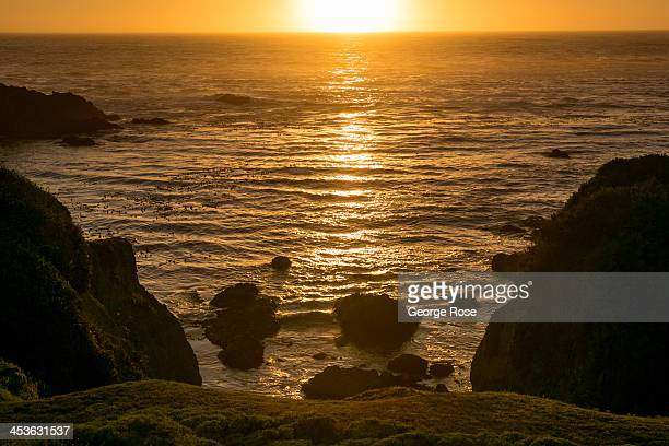 The sun sets over the Pacific Ocean near the Mendocino Coast Botanical Gardens on September 6 in Fort Bragg California Located three hours north of...
