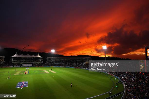 The sun sets over the pitch during the second Natwest One Day International Series match between England and India at The Rose Bowl on September 6...