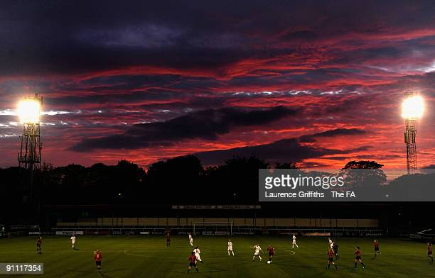 The Sun Sets over the Womens U19 International between England and Norway at Spotland Stadium on September 24 2009 in Rochdale England