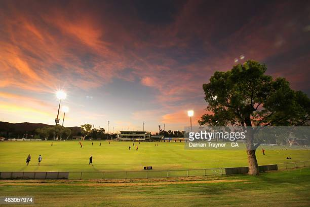 The sun sets over Traeger Park in Alice Springs during the 20415 Imparja Cup on February 9 2015 in Alice Springs Australia