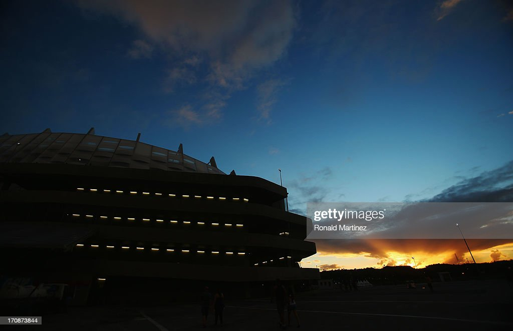 The sun sets past stadium prior to the FIFA Confederations Cup Brazil 2013 Group A match between Italy and Japan at Arena Pernambuco on June 19, 2013 in Recife, Brazil.