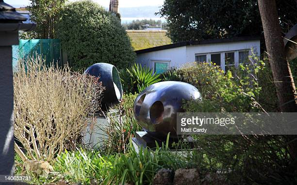 The sun shines on sculptures in the garden of the Barbara Hepworth museum in the centre of St Ives on March 4 2012 in Cornwall England With only a...