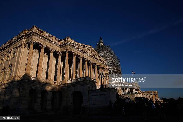 The sun shines on the US House of Representatives early in the morning October 29 2015 in Washington DC The House is expected to elect Rep Paul Ryan...