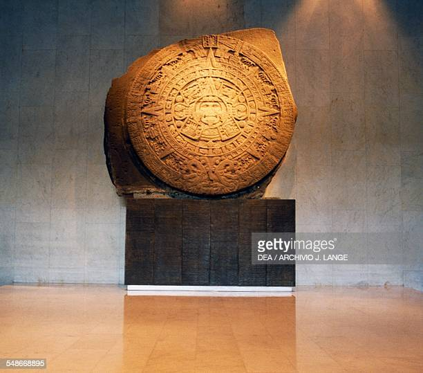 The Sun Stone Aztec calendar stone carved basalt monolith from Tenochtitlan 360 cm in diametre Aztec civilisation 14th16th century Mexico City Museo...