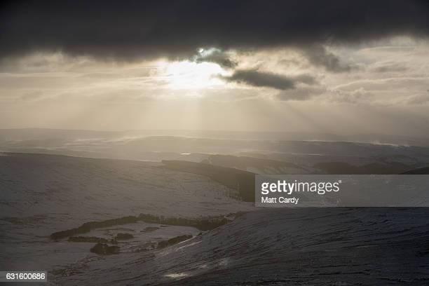 The sun tries to break through cloud close to the summit of Pen Y Fan on January 13 2017 in the Brecon Beacons Wales The Met Office has issued a...