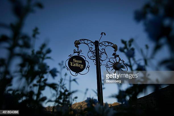 The Sun Valley Inn logo is displayed at the entrance to the grounds ahead of the Allen Co Media and Technology Conference in Sun Valley Idaho US on...