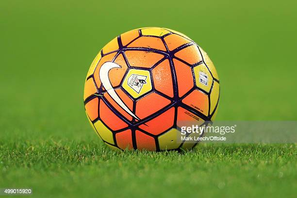 The 'sunburst' orange Nike Ordem HiVis winter ball seen during the Barclays Premier League match between Liverpool and Crystal Palace at Anfield on...