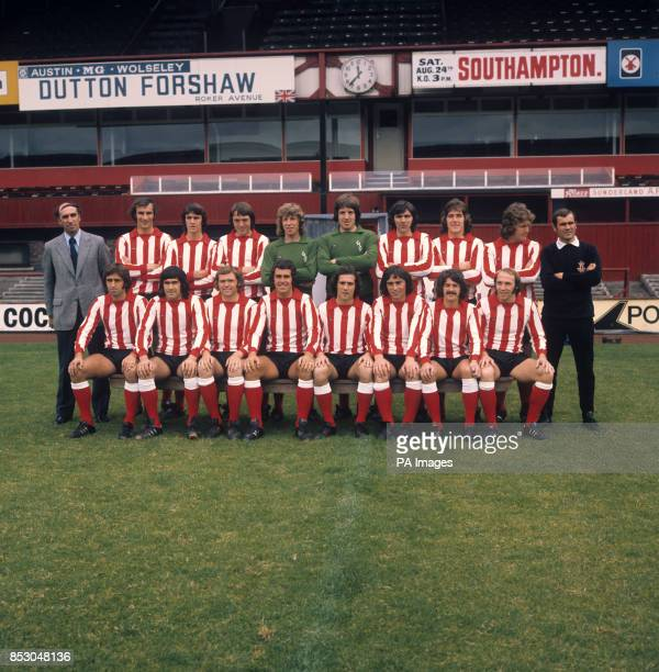 The Sunderland firstteam squad for the 197475 season at the club's Roker Park ground Back row Manager Bob Stokoe Richard Malone Dave Watson Denis...