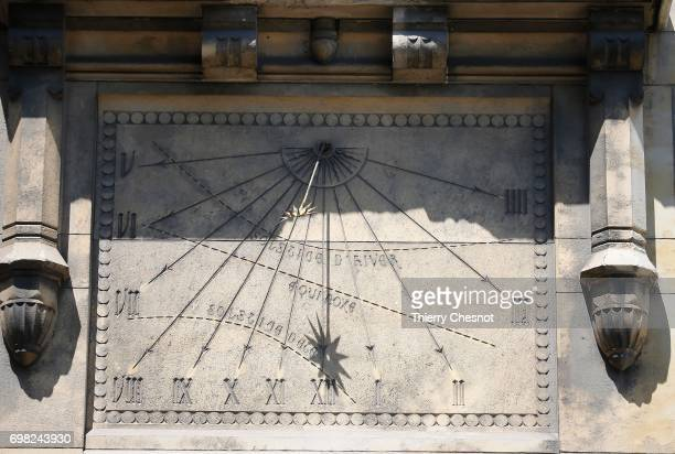 The sundial of the 'Lycee Buffon' is seen on June 18 2017 in Paris France The twelve hour lines start from a circle inside which radiates a sun The...