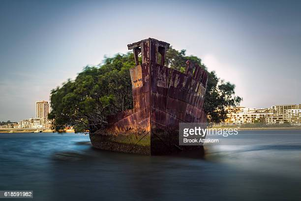 The sunken shipwreck on the reef, Homebush Bay, Sydney, Australia
