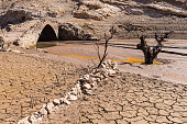 because of the drought in the province of Rioja, the lowering of the water level makes the sunken village reappear when the dam was created in the 1950s