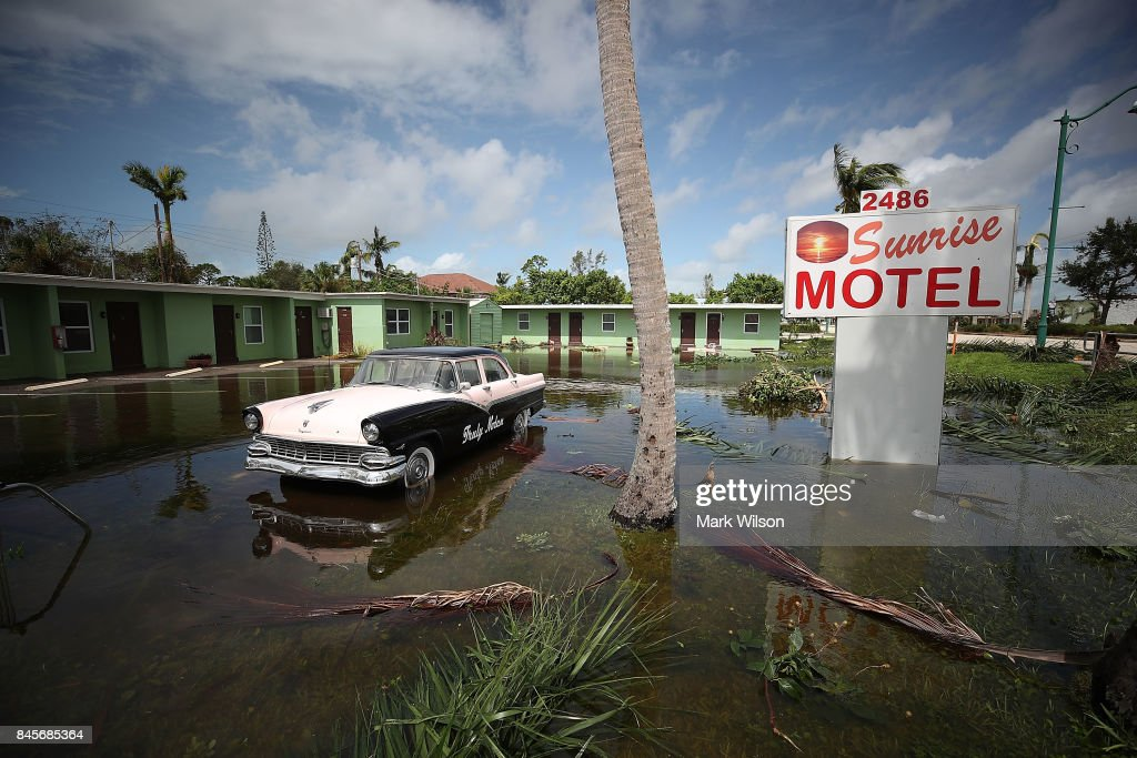 The Sunrise Motel remains flooded after Hurricane Irma hit the area on September 11, 2017 in East Naples, Florida. Yesterday Hurricane Irma hit Florida's west coast leaving widespread damage and flooding.