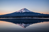 The sunrise with Mount Fuji and Lake Kawaguchi