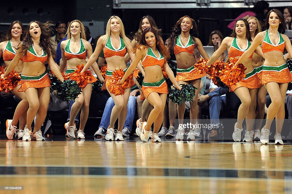 The Sunsations, dance team of Miami Hurricanes, perform during a game against the North Carolina Tar Heels at the BankUnited Center on February 9, 2013 in Coral Gables, Florida. Miami defeated North Carolina 87-61.