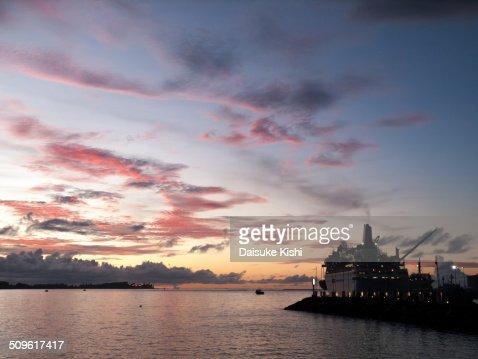 The sunset in Apia, Samoa