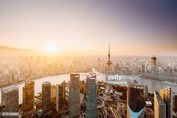 the sunset of Shanghai