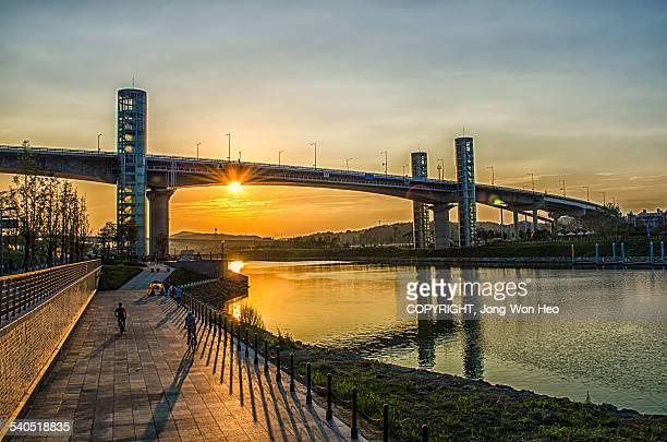 The sunset over the bridge