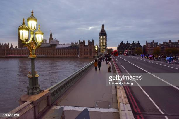 The sunset over the Houses of Parliament and Westminster Bridge on November 19 2017 in London England PHOTOGRAPH BY Matthew Chattle / Barcroft Images