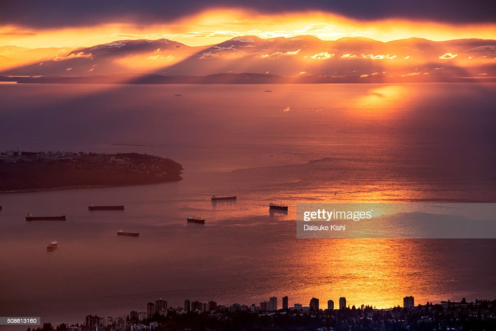 The Sunset View From Grouse Mountain, Vancouver, Canada : Stock Photo