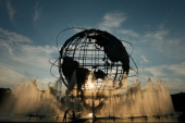 The sunsets behind the unisphere on Day Two of the 2013 US Open at the USTA Billie Jean King National Tennis Center on August 27 2013 in New York City