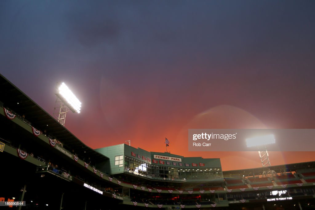 The sunsets during team workout for the Boston Red Sox in the 2013 World Series Media Day at Fenway Park on October 22, 2013 in Boston, Massachusetts. The Red Sox host the Cardinals in Game 1 on October 23, 2013.