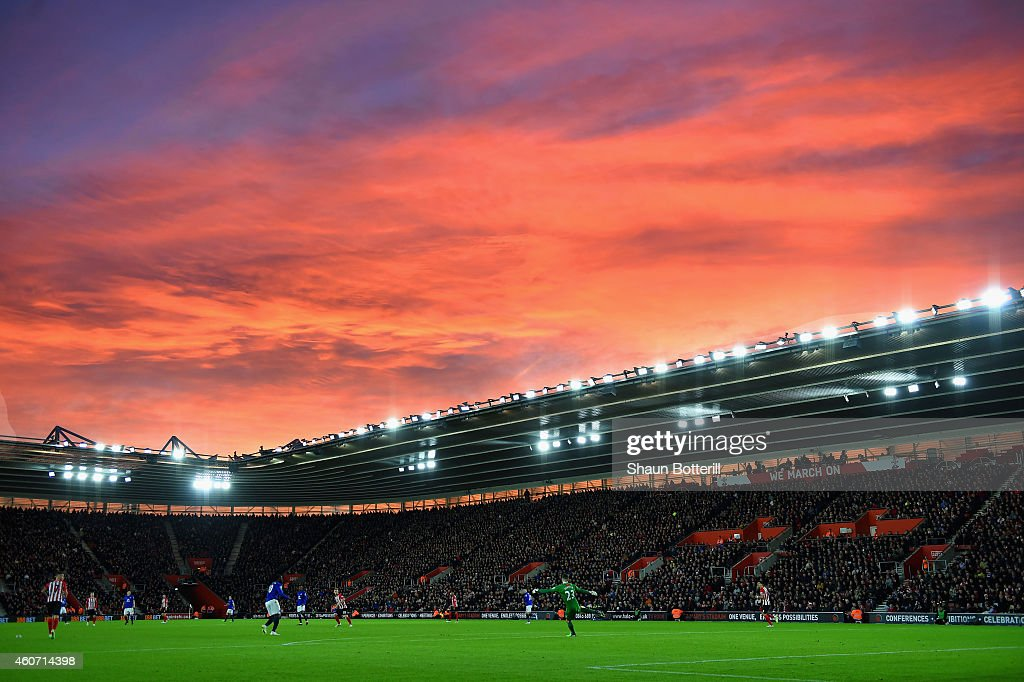 The sunsets during the Barclays Premier League match between Southampton and Everton at St Mary's Stadium on December 20 2014 in Southampton England