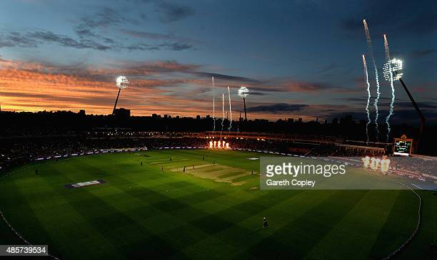 The sunsets during the NatWest T20 Blast Final between Lancashire Lighting and Northamptonshire Steelbacks at Edgbaston on August 29 2015 in...