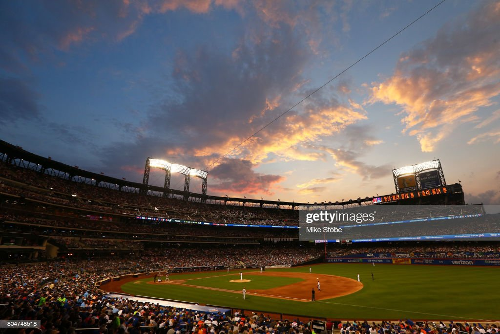 The sunsets in the fourth inning during the game between the New York Mets and the Philadelphia Phillies at Citi Field on June 30, 2017 in the Flushing neighborhood of the Queens borough of New York City.