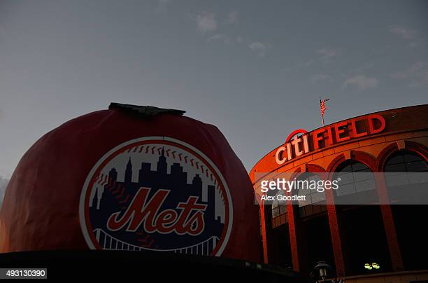 The sunsets over Citi Field prior to game one of the 2015 MLB National League Championship Series between Chicago Cubs and the New York Mets on...