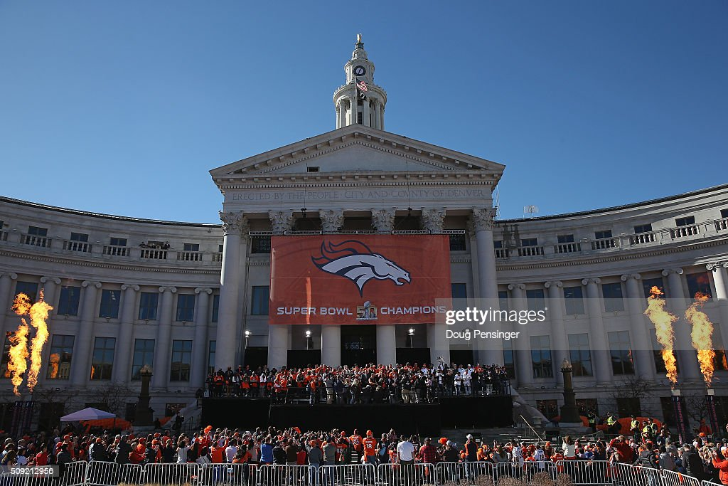 The Super Bowl 50 Champion Denver Broncos are celebrated at a rally on the steps of the Denver City and County Building on February 8, 2016 in Denver, Colorado.
