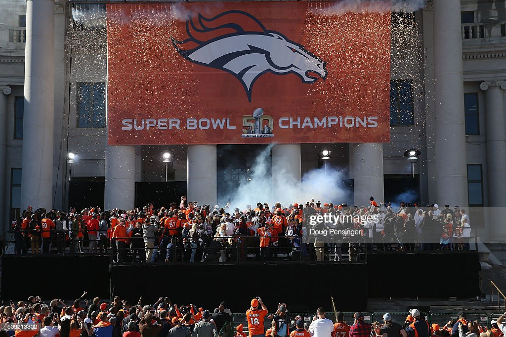 The Super Bowl 50 Champion Denver Broncos are celebrated at a rally on the steps of the Denver City and County Building on February 9, 2016 in Denver, Colorado. The Broncos defeated the Panthers 24-10 in Super Bowl 50.