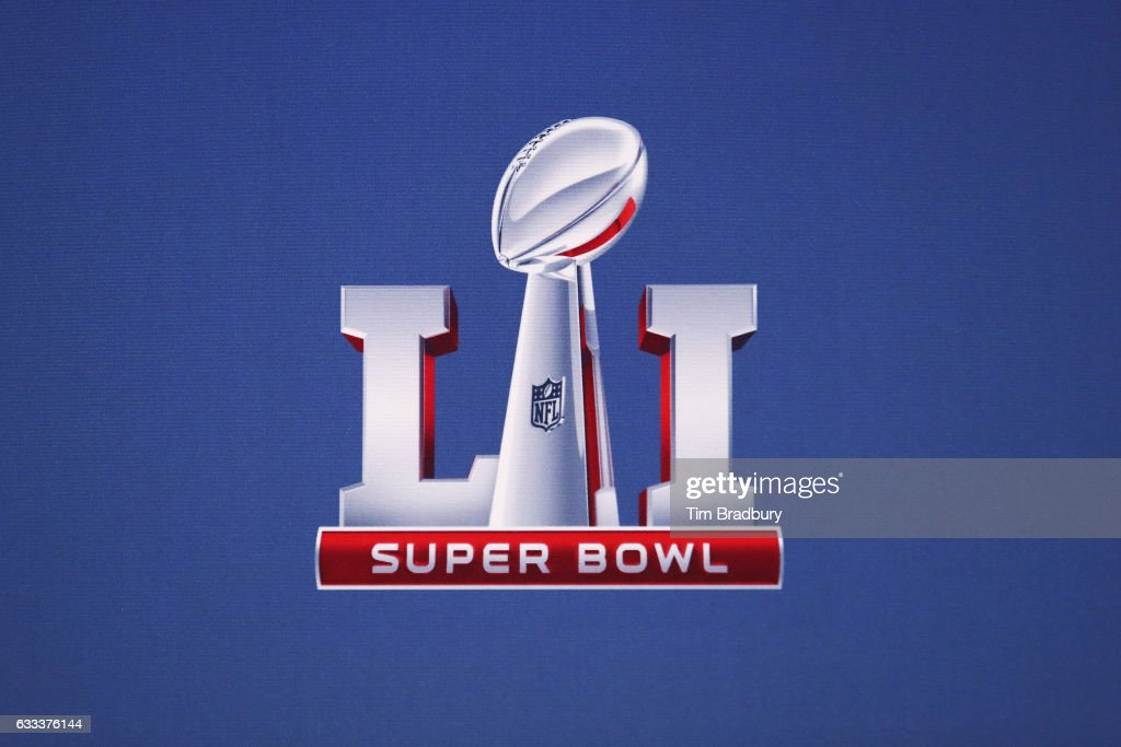 The Super Bowl 51 logo is seen following a press conference held by NFL Commissioner Roger Goodell (not pictured) at the George R. Brown Convention Center on February 1, 2017 in Houston, Texas.
