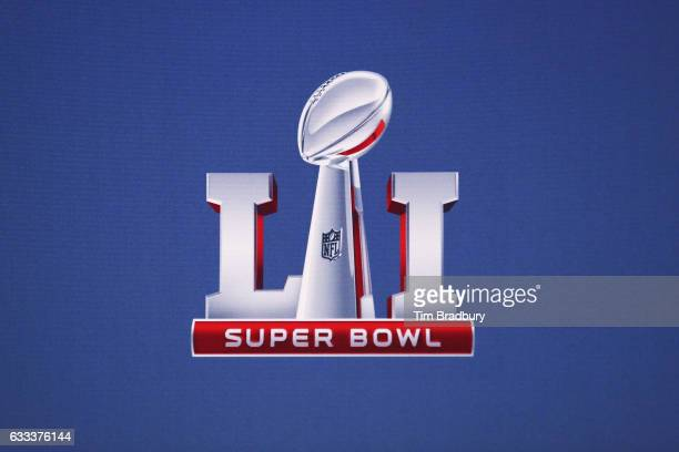 The Super Bowl 51 logo is seen following a press conference held by NFL Commissioner Roger Goodell at the George R Brown Convention Center on...