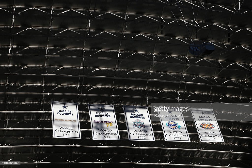 The Super Bowl banners of the Dallas Cowboys at Cowboys Stadium on October 28, 2012 in Arlington, Texas.