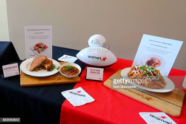 The Super Bowl LI Menu is unveiled at NRG Stadium on January 31 in Houston Texas The Atlanta Fried Chicken Stack and the Beantown Griller on display...