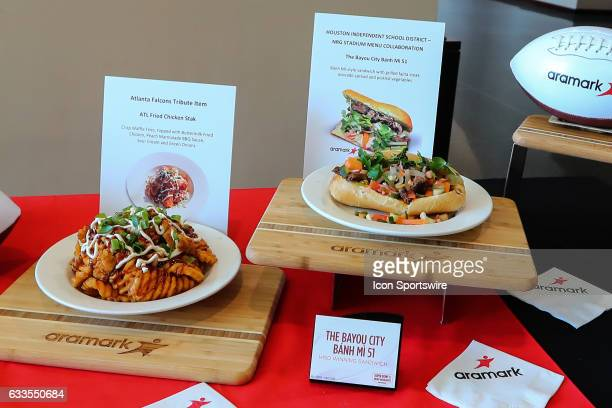 The Super Bowl LI Menu is unveiled at NRG Stadium on January 31 in Houston Texas The Atlanta Fried Chicken Stack and Bayou City Bahn Mi 51 on display...
