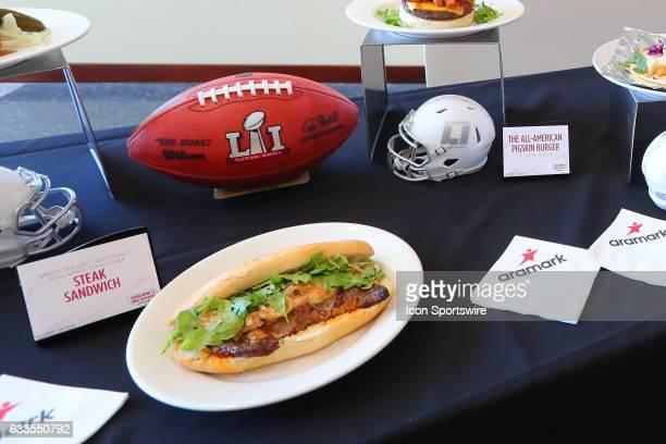 The Super Bowl LI Menu is unveiled at NRG Stadium on January 31 in Houston Texas The Steak Sandwich on display Aramark is NRG Stadiums food and...