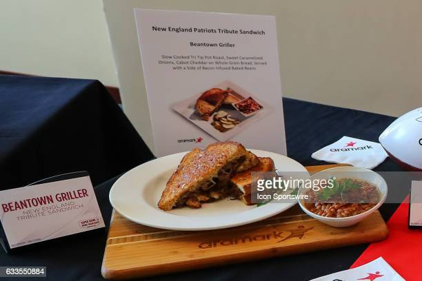 The Super Bowl LI Menu is unveiled at NRG Stadium on January 31 in Houston Texas The Beantown Griller on display Aramark is NRG Stadiums food and...