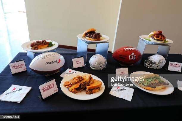 The Super Bowl LI Menu is unveiled at NRG Stadium on January 31 in Houston Texas The 44 Farms Jalapeno Cheese Dog Texas Short Rib Grilled Cheese...