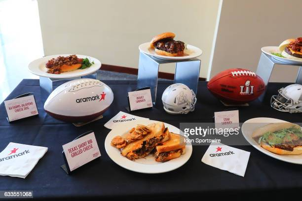 The Super Bowl LI Menu is unveiled at NRG Stadium on January 31 in Houston Texas The 44 Farms Jalapeno Cheese Dog Brisket Sandwich and Texas Short...