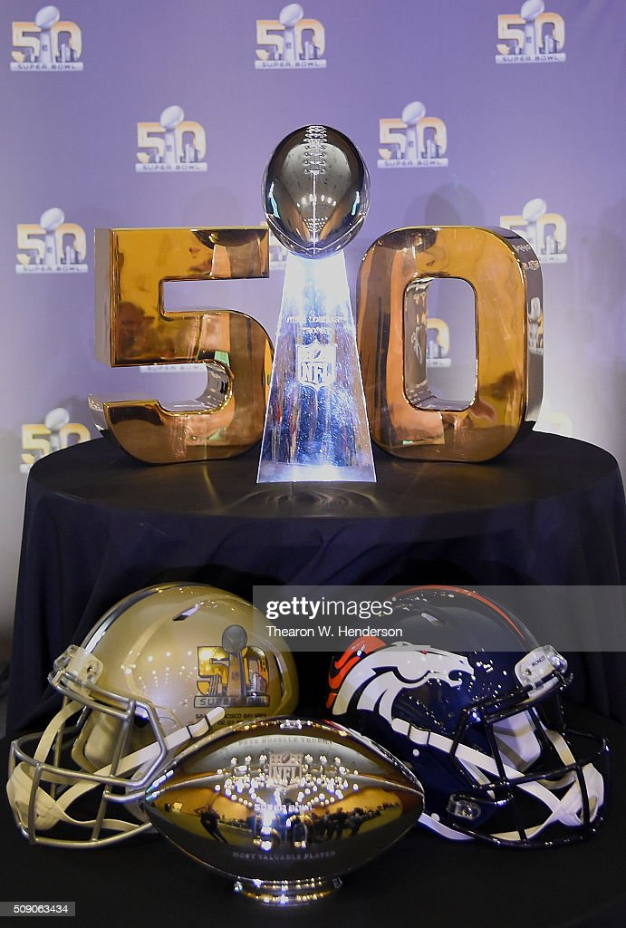 The Super Bowl trophy and the Super Bowl 50 MVP trophy was on display during the presentation for the MVP at the Moscone Center West on February 8, 2016 in San Francisco, California. Von Miller #58 of the Broncos was the games MVP.