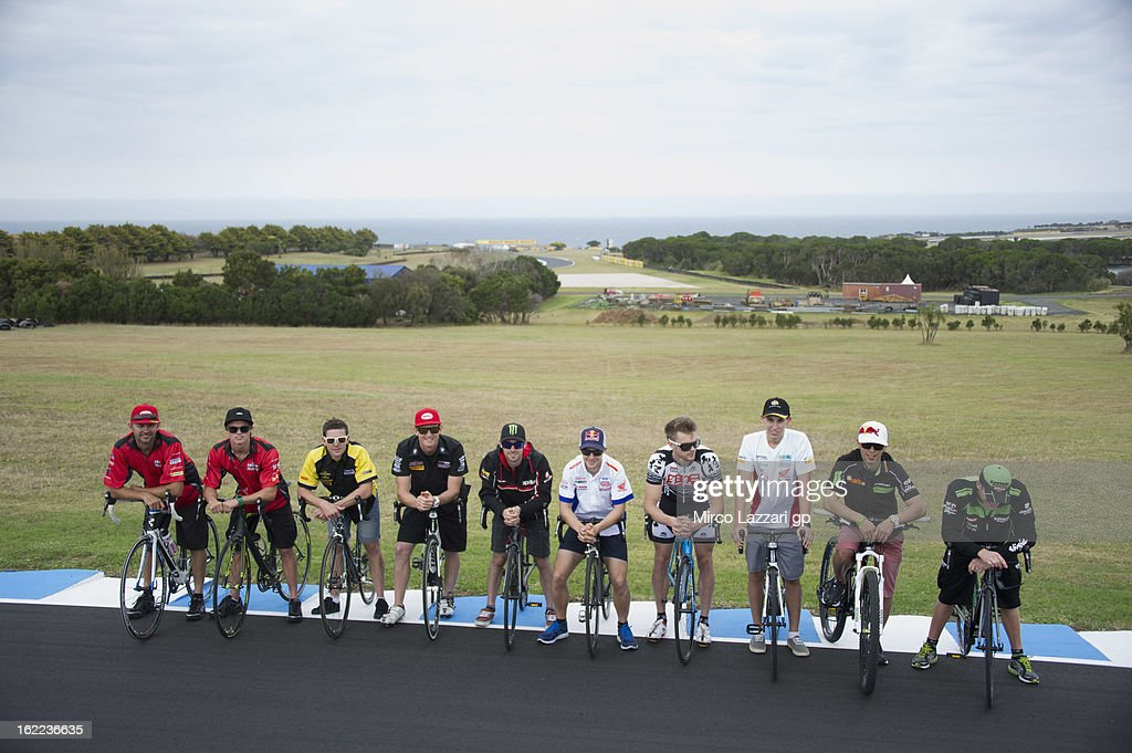 The Superbike riders pose during the event 'Track lap on bicycles' during the round first of 2013 Superbike FIM World Championship at Phillip Island Grand Prix Circuit on February 21, 2013 in Phillip Island, Australia.